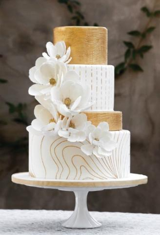 White and Gold Wedding Cake | VibrantBride.com
